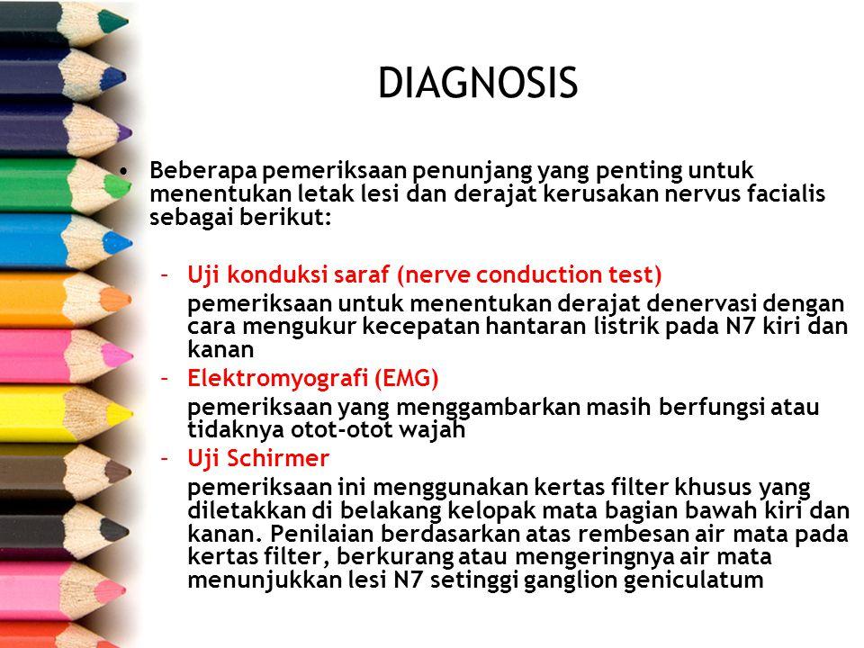 Beberapa pemeriksaan penunjang yang penting untuk menentukan letak lesi dan derajat kerusakan nervus facialis sebagai berikut: –Uji konduksi saraf (ne