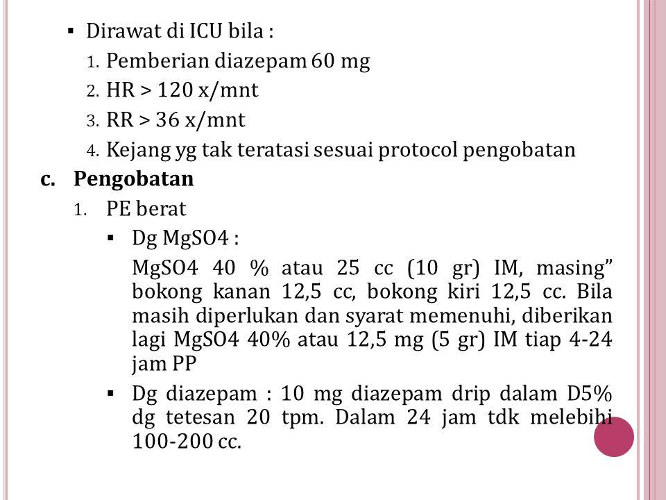  Dirawat di ICU bila : 1. Pemberian diazepam 60 mg 2. HR > 120 x/mnt 3. RR > 36 x/mnt 4. Kejang yg tak teratasi sesuai protocol pengobatan c.Pengobat
