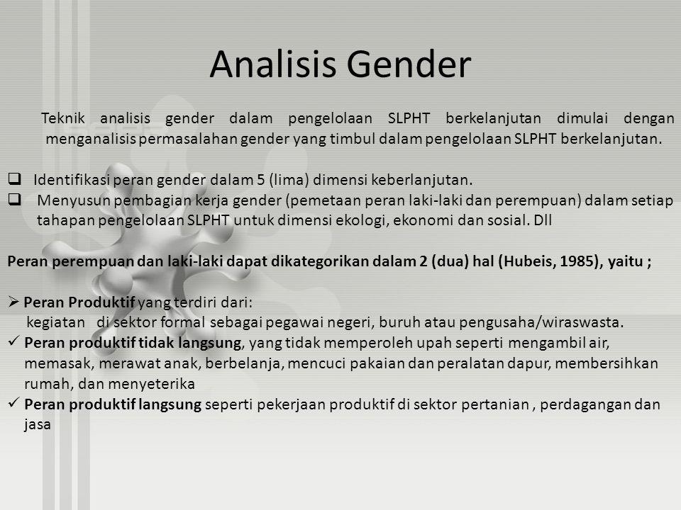 Analisis Gender Teknik analisis gender dalam pengelolaan SLPHT berkelanjutan dimulai dengan menganalisis permasalahan gender yang timbul dalam pengelo