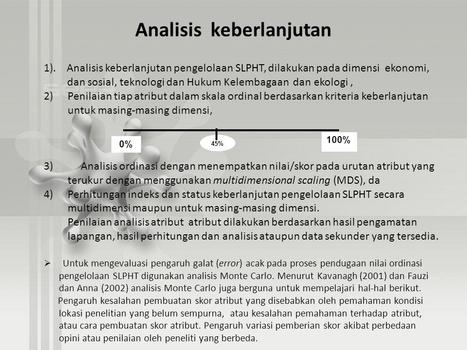 Analisis keberlanjutan 1). Analisis keberlanjutan pengelolaan SLPHT, dilakukan pada dimensi ekonomi, dan sosial, teknologi dan Hukum Kelembagaan dan e