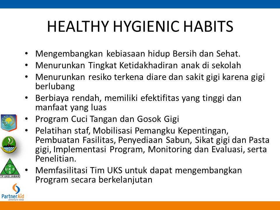 HEALTHY HYGIENIC HABITS Mengembangkan kebiasaan hidup Bersih dan Sehat. Menurunkan Tingkat Ketidakhadiran anak di sekolah Menurunkan resiko terkena di