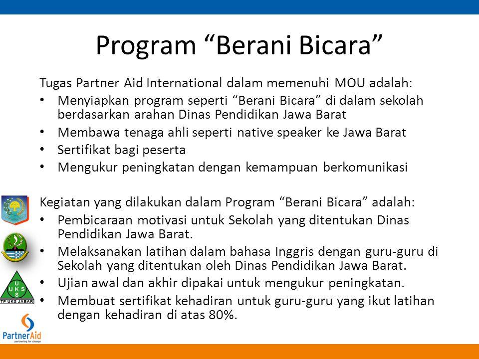 """Program """"Berani Bicara"""" Tugas Partner Aid International dalam memenuhi MOU adalah: Menyiapkan program seperti """"Berani Bicara"""" di dalam sekolah berdasa"""