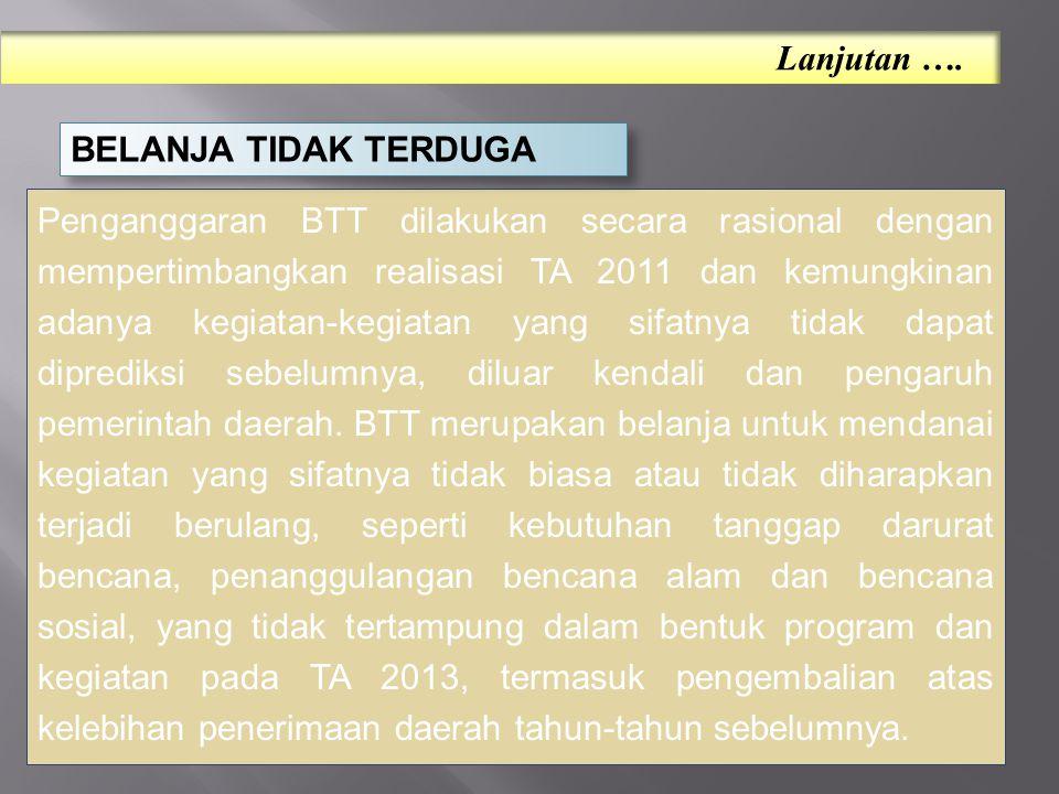 Penganggaran BTT dilakukan secara rasional dengan mempertimbangkan realisasi TA 2011 dan kemungkinan adanya kegiatan-kegiatan yang sifatnya tidak dapat diprediksi sebelumnya, diluar kendali dan pengaruh pemerintah daerah.