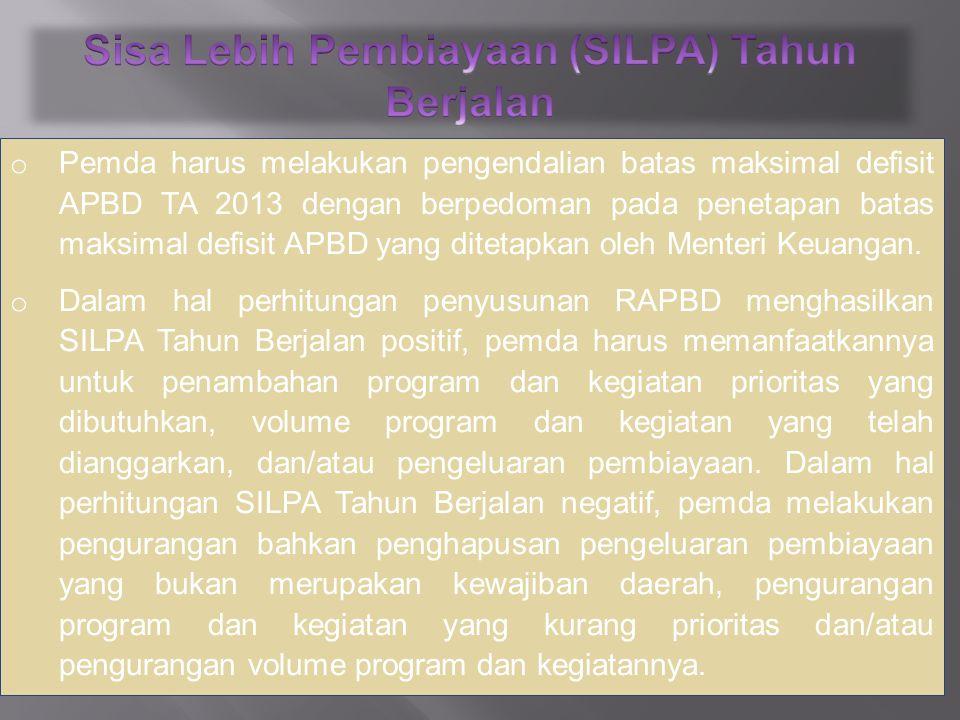 o Pemda harus melakukan pengendalian batas maksimal defisit APBD TA 2013 dengan berpedoman pada penetapan batas maksimal defisit APBD yang ditetapkan