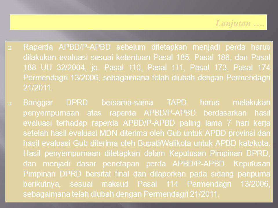  Raperda APBD/P-APBD sebelum ditetapkan menjadi perda harus dilakukan evaluasi sesuai ketentuan Pasal 185, Pasal 186, dan Pasal 188 UU 32/2004, jo.