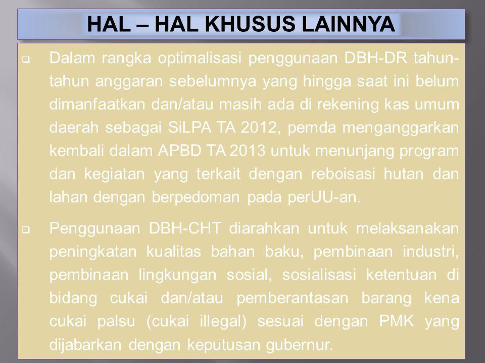 HAL – HAL KHUSUS LAINNYA  Dalam rangka optimalisasi penggunaan DBH-DR tahun- tahun anggaran sebelumnya yang hingga saat ini belum dimanfaatkan dan/at