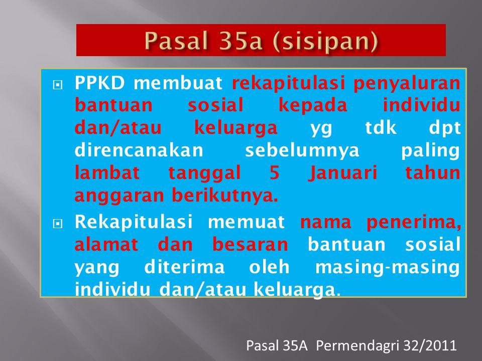  PPKD membuat rekapitulasi penyaluran bantuan sosial kepada individu dan/atau keluarga yg tdk dpt direncanakan sebelumnya paling lambat tanggal 5 Jan