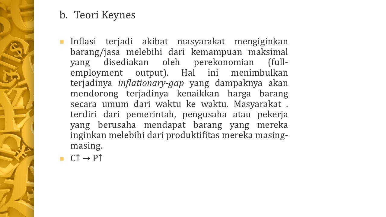 b.Teori Keynes Inflasi terjadi akibat masyarakat mengiginkan barang/jasa melebihi dari kemampuan maksimal yang disediakan oleh perekonomian (full- employment output).