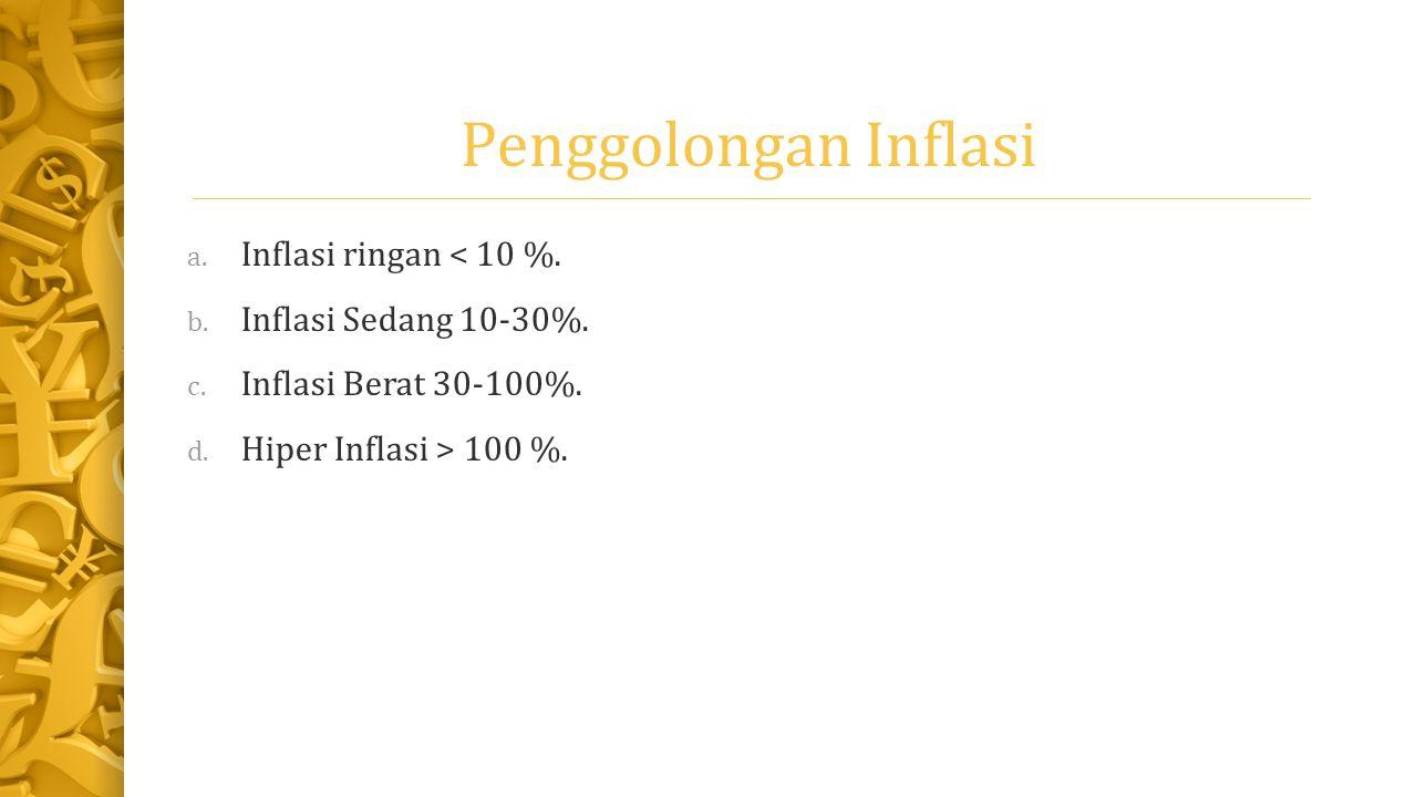 Penggolongan Inflasi a. Inflasi ringan < 10 %. b. Inflasi Sedang 10-30%. c. Inflasi Berat 30-100%. d. Hiper Inflasi > 100 %.