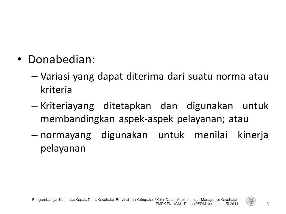 Pengembangan Kapasitas Kepala Dinas Kesehatan Provinsi dan Kabupaten / Kota Dalam Kebijakan dan Manajemen Kesehatan PMPK FK UGM - Badan PSDM Kemenkes RI 2011 26