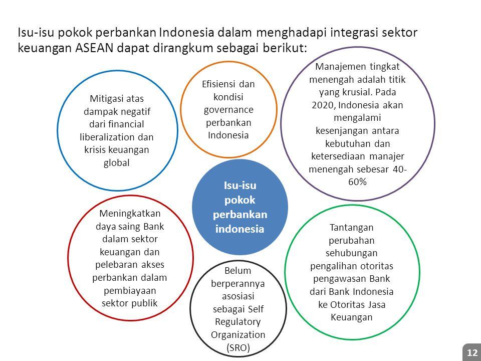Isu-isu pokok perbankan Indonesia dalam menghadapi integrasi sektor keuangan ASEAN dapat dirangkum sebagai berikut: 12 Isu-isu pokok perbankan indonesia Mitigasi atas dampak negatif dari financial liberalization dan krisis keuangan global Meningkatkan daya saing Bank dalam sektor keuangan dan pelebaran akses perbankan dalam pembiayaan sektor publik Tantangan perubahan sehubungan pengalihan otoritas pengawasan Bank dari Bank Indonesia ke Otoritas Jasa Keuangan Efisiensi dan kondisi governance perbankan Indonesia Manajemen tingkat menengah adalah titik yang krusial.