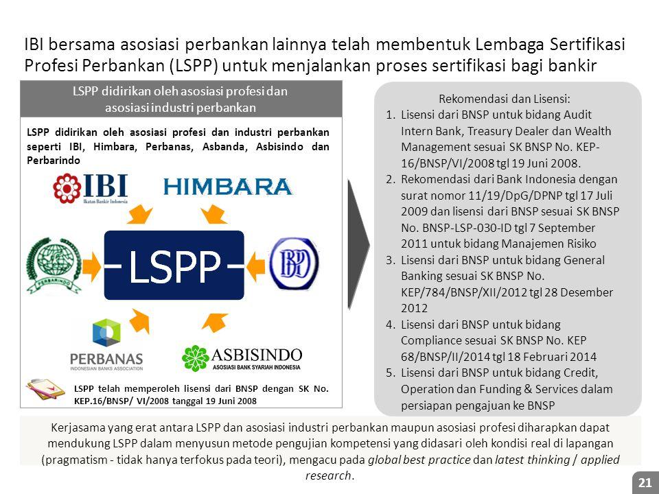 Kerjasama yang erat antara LSPP dan asosiasi industri perbankan maupun asosiasi profesi diharapkan dapat mendukung LSPP dalam menyusun metode pengujian kompetensi yang didasari oleh kondisi real di lapangan (pragmatism - tidak hanya terfokus pada teori), mengacu pada global best practice dan latest thinking / applied research.