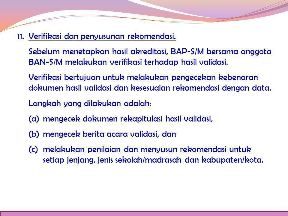 11.Verifikasi dan penyusunan rekomendasi.