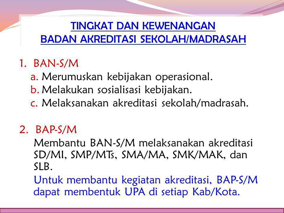 1.BAN-S/M a.Merumuskan kebijakan operasional. b.Melakukan sosialisasi kebijakan.