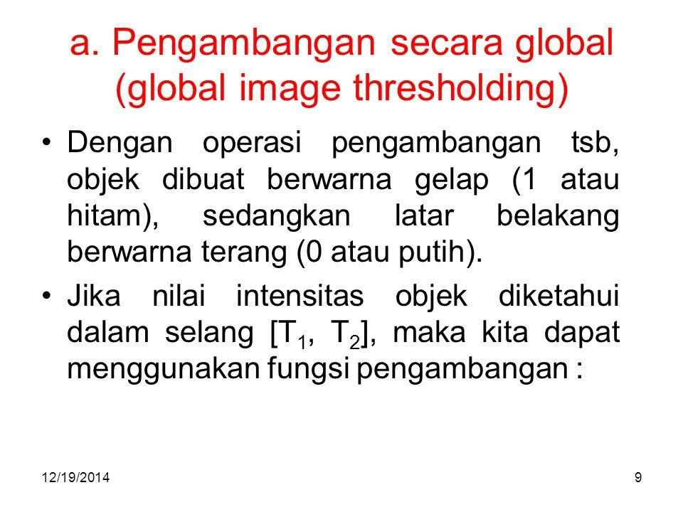 a. Pengambangan secara global (global image thresholding) 12/19/201410
