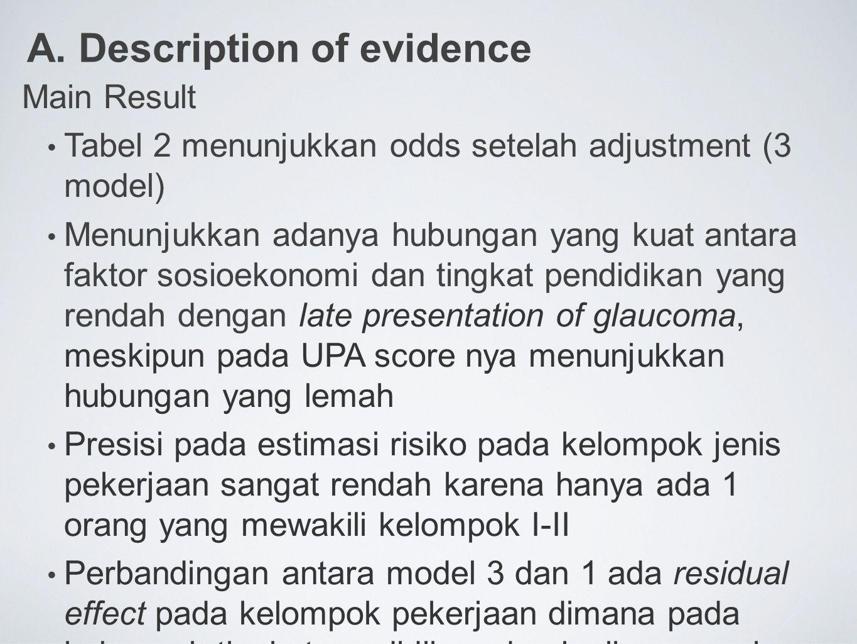 A. Description of evidence Main Result Tabel 2 menunjukkan odds setelah adjustment (3 model) Menunjukkan adanya hubungan yang kuat antara faktor sosio
