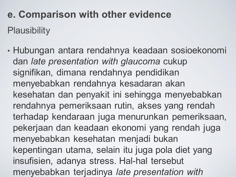 e. Comparison with other evidence Plausibility Hubungan antara rendahnya keadaan sosioekonomi dan late presentation with glaucoma cukup signifikan, di