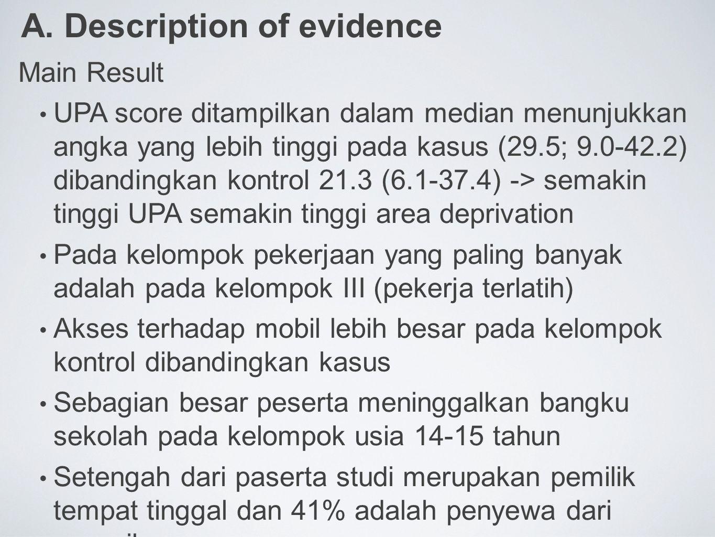 A. Description of evidence Main Result UPA score ditampilkan dalam median menunjukkan angka yang lebih tinggi pada kasus (29.5; 9.0-42.2) dibandingkan