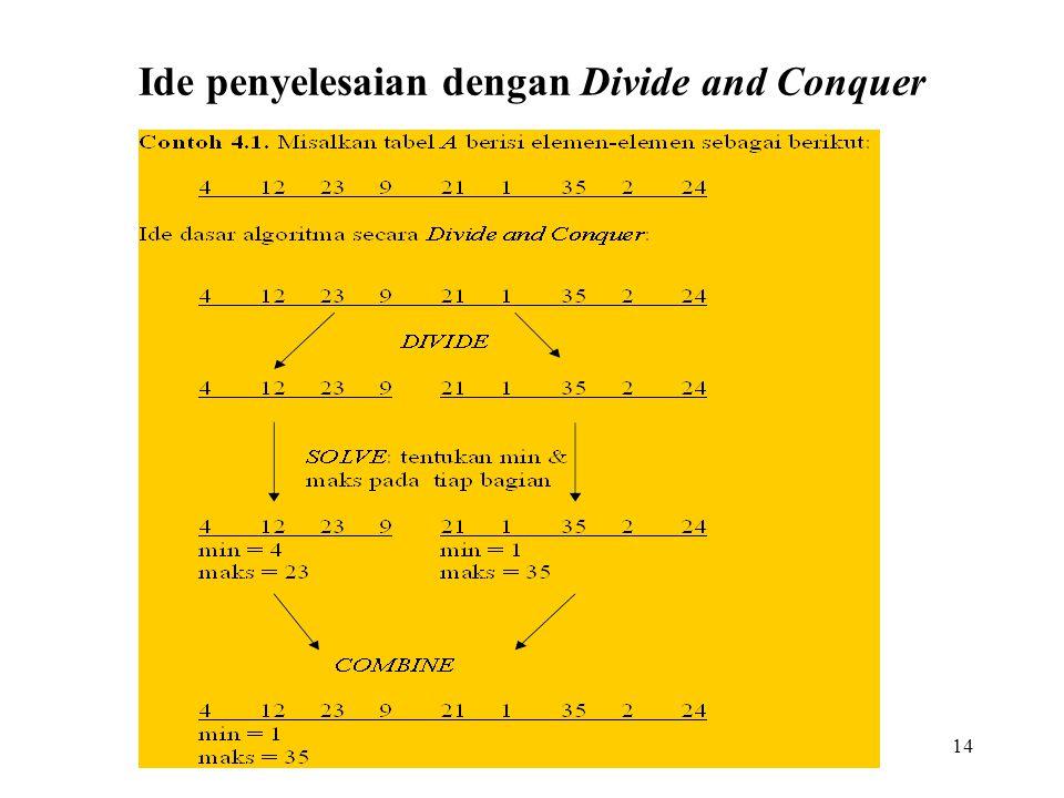 14 Ide penyelesaian dengan Divide and Conquer