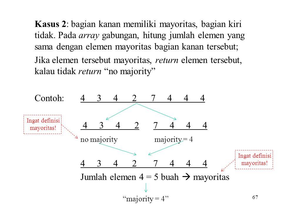 Kasus 2: bagian kanan memiliki mayoritas, bagian kiri tidak.