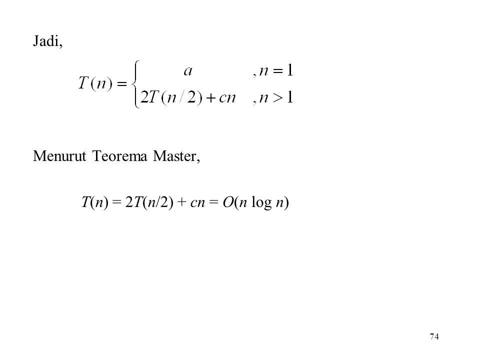 Jadi, Menurut Teorema Master, T(n) = 2T(n/2) + cn = O(n log n) 74