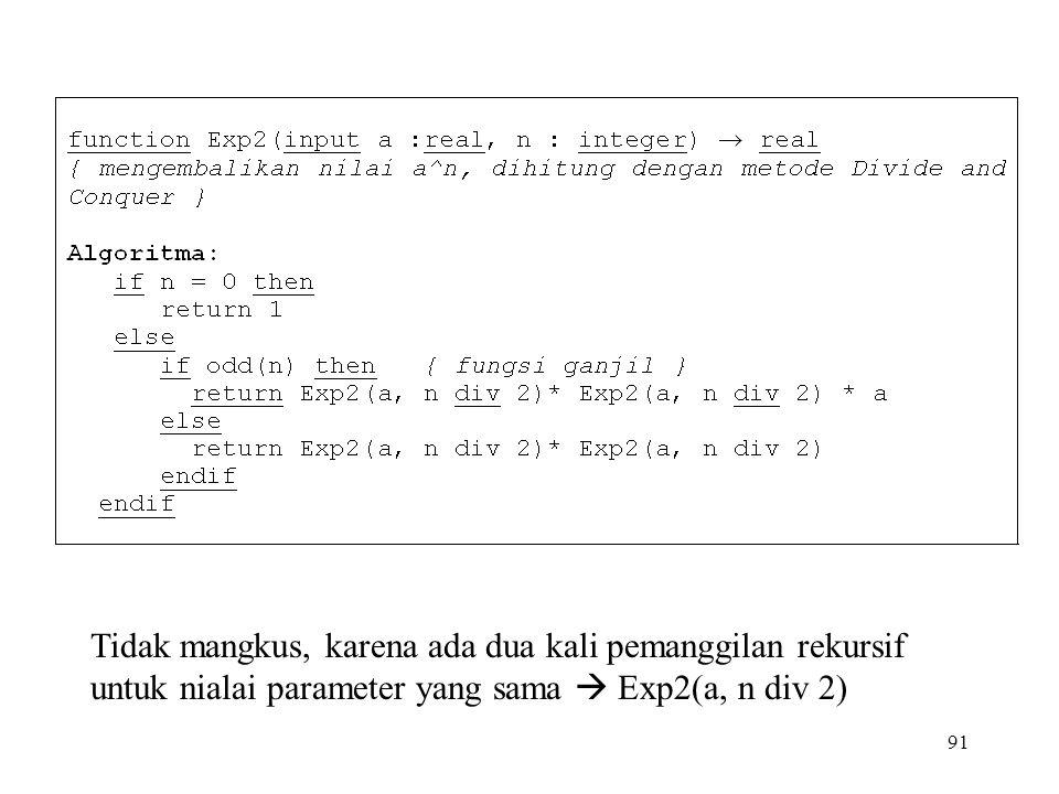 91 Tidak mangkus, karena ada dua kali pemanggilan rekursif untuk nialai parameter yang sama  Exp2(a, n div 2)