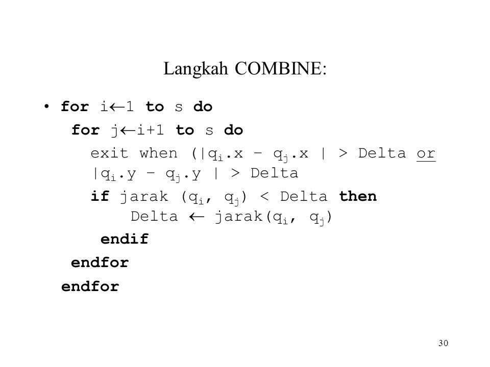 30 Langkah COMBINE: for i  1 to s do for j  i+1 to s do exit when (|q i.x – q j.x | > Delta or |q i.y – q j.y | > Delta if jarak (q i, q j ) < Delta then Delta  jarak(q i, q j ) endif endfor