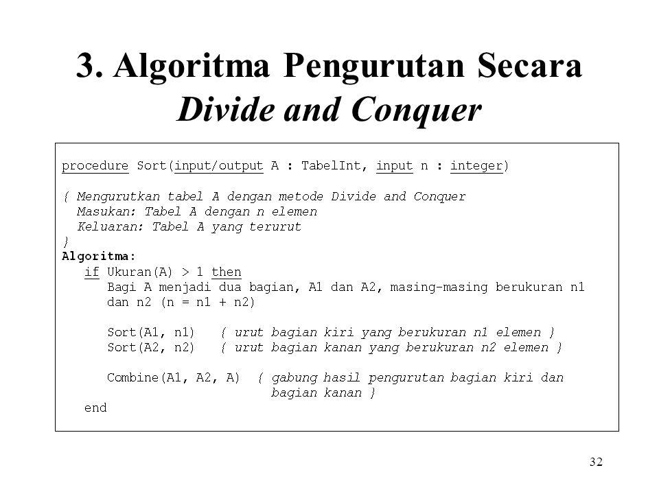 32 3. Algoritma Pengurutan Secara Divide and Conquer