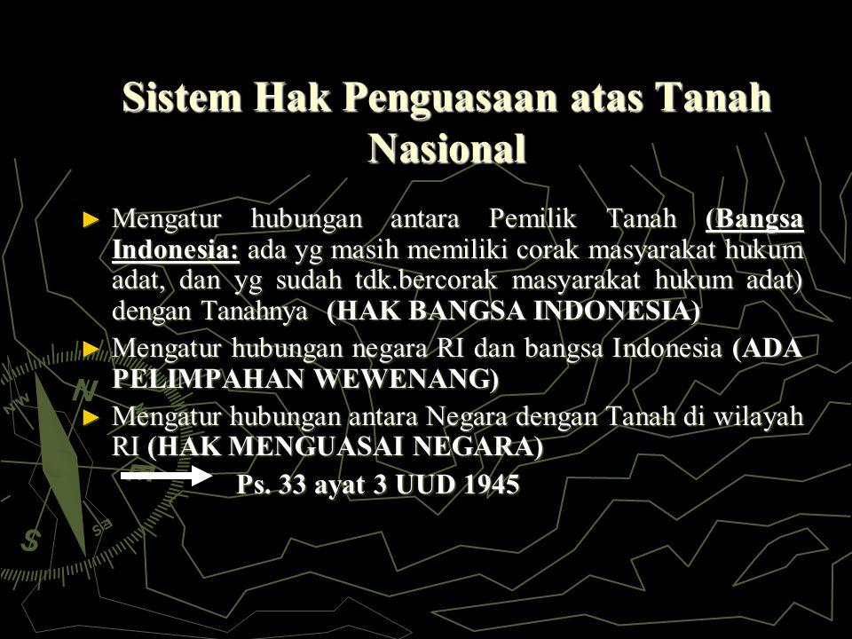 Sistem Hak Penguasaan atas Tanah Nasional ► Mengatur hubungan antara Pemilik Tanah (Bangsa Indonesia: ada yg masih memiliki corak masyarakat hukum adat, dan yg sudah tdk.bercorak masyarakat hukum adat) dengan Tanahnya (HAK BANGSA INDONESIA) ► Mengatur hubungan negara RI dan bangsa Indonesia (ADA PELIMPAHAN WEWENANG) ► Mengatur hubungan antara Negara dengan Tanah di wilayah RI (HAK MENGUASAI NEGARA) Ps.