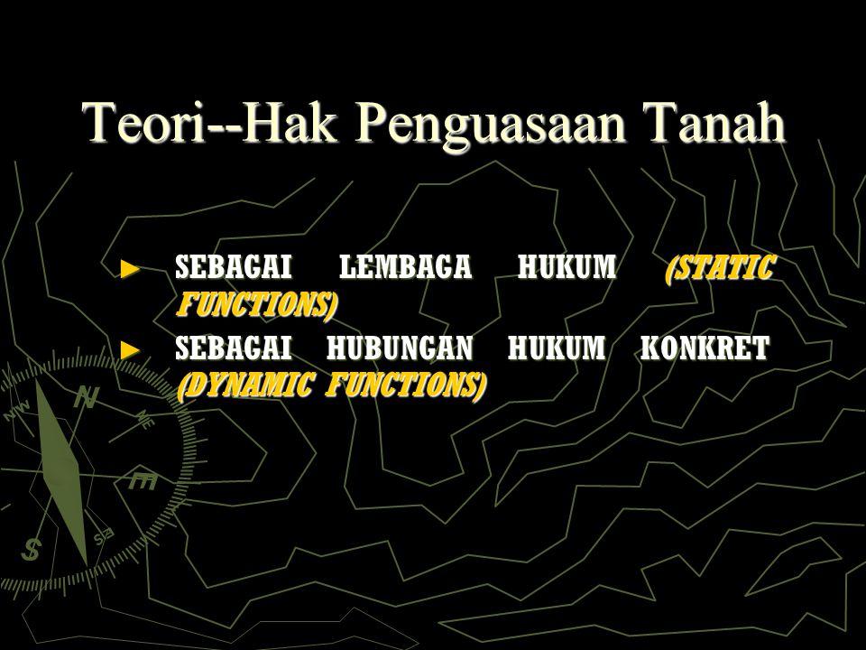 Teori--Hak Penguasaan Tanah ► SEBAGAI LEMBAGA HUKUM (STATIC FUNCTIONS) ► SEBAGAI HUBUNGAN HUKUM KONKRET (DYNAMIC FUNCTIONS)
