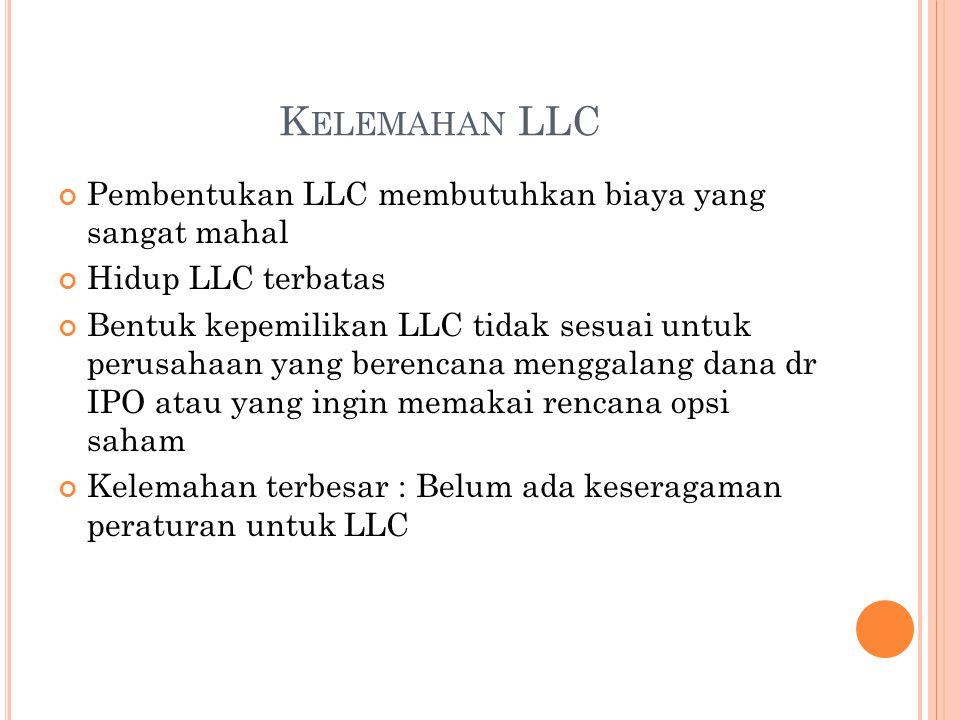 K ELEMAHAN LLC Pembentukan LLC membutuhkan biaya yang sangat mahal Hidup LLC terbatas Bentuk kepemilikan LLC tidak sesuai untuk perusahaan yang berencana menggalang dana dr IPO atau yang ingin memakai rencana opsi saham Kelemahan terbesar : Belum ada keseragaman peraturan untuk LLC