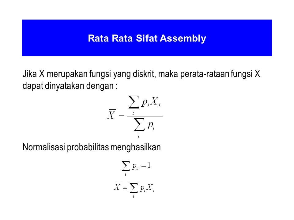 Rata Rata Sifat Assembly Jika X merupakan fungsi yang diskrit, maka perata-rataan fungsi X dapat dinyatakan dengan : Normalisasi probabilitas menghasi