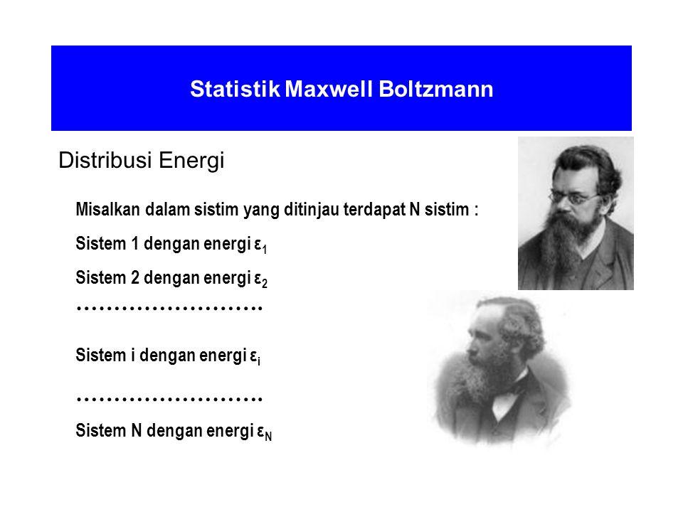 Statistik Maxwell Boltzmann Distribusi Energi Misalkan dalam sistim yang ditinjau terdapat N sistim : Sistem 1 dengan energi ε 1 Sistem 2 dengan energ