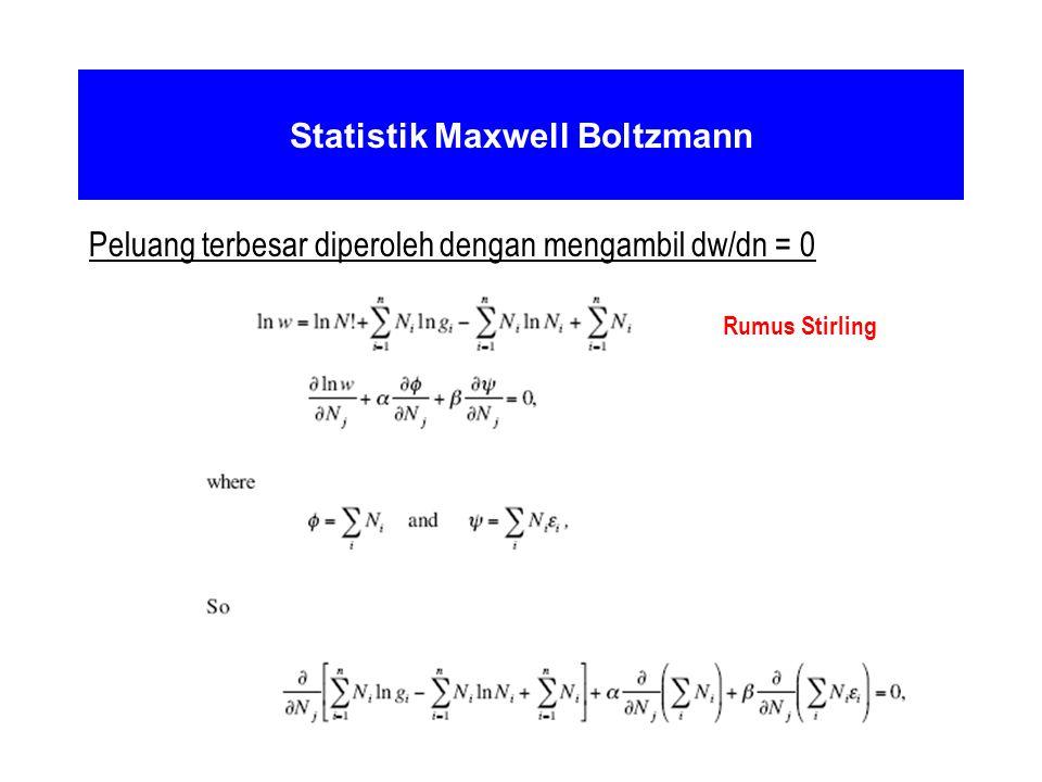 Statistik Maxwell Boltzmann Peluang terbesar diperoleh dengan mengambil dw/dn = 0 Rumus Stirling