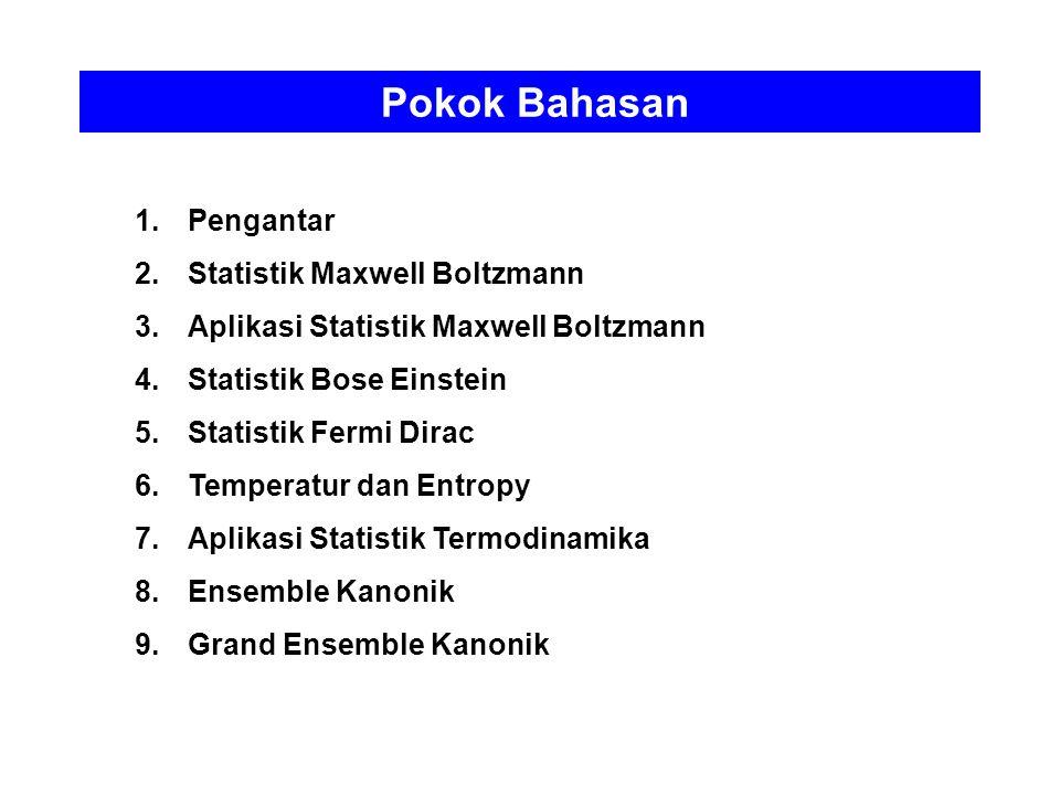 Pokok Bahasan 1.Pengantar 2.Statistik Maxwell Boltzmann 3.Aplikasi Statistik Maxwell Boltzmann 4.Statistik Bose Einstein 5.Statistik Fermi Dirac 6.Tem