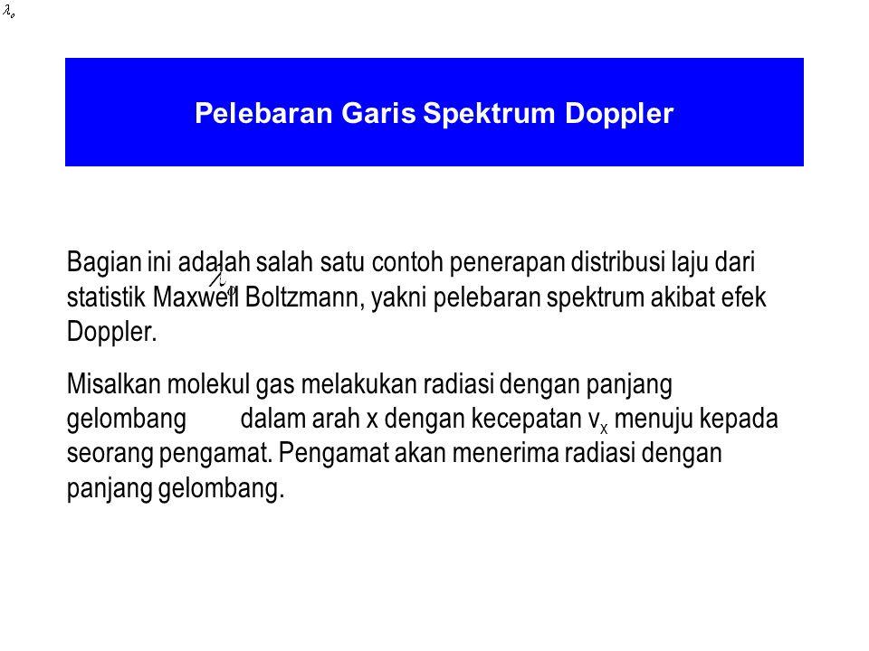 Pelebaran Garis Spektrum Doppler Bagian ini adalah salah satu contoh penerapan distribusi laju dari statistik Maxwell Boltzmann, yakni pelebaran spekt