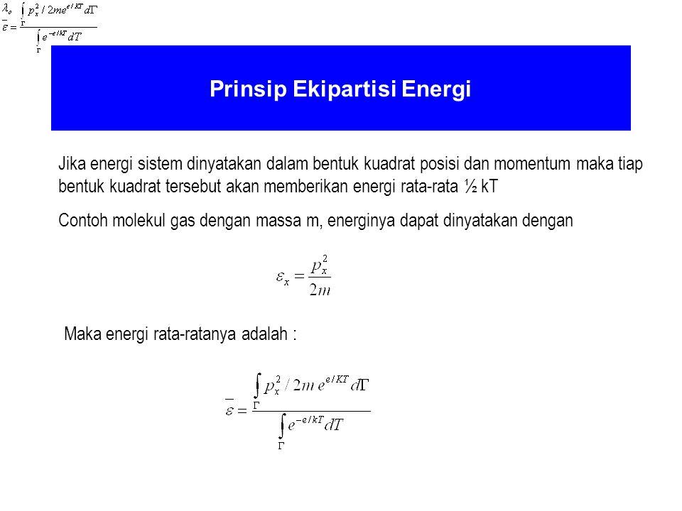 Prinsip Ekipartisi Energi Jika energi sistem dinyatakan dalam bentuk kuadrat posisi dan momentum maka tiap bentuk kuadrat tersebut akan memberikan ene