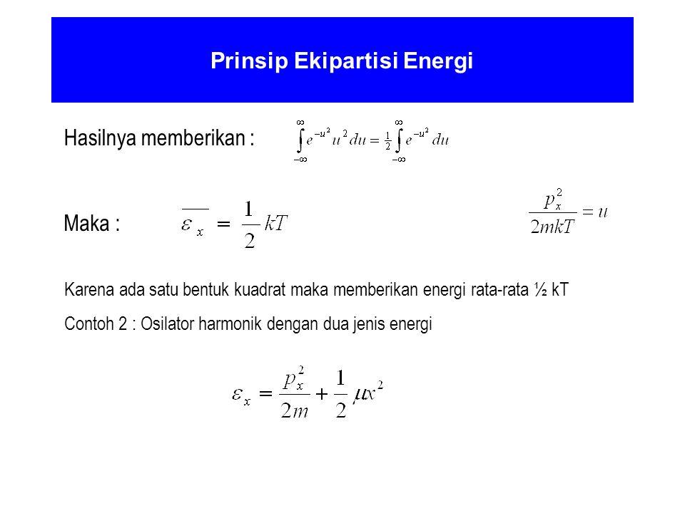 Prinsip Ekipartisi Energi Hasilnya memberikan : Maka : Karena ada satu bentuk kuadrat maka memberikan energi rata-rata ½ kT Contoh 2 : Osilator harmon