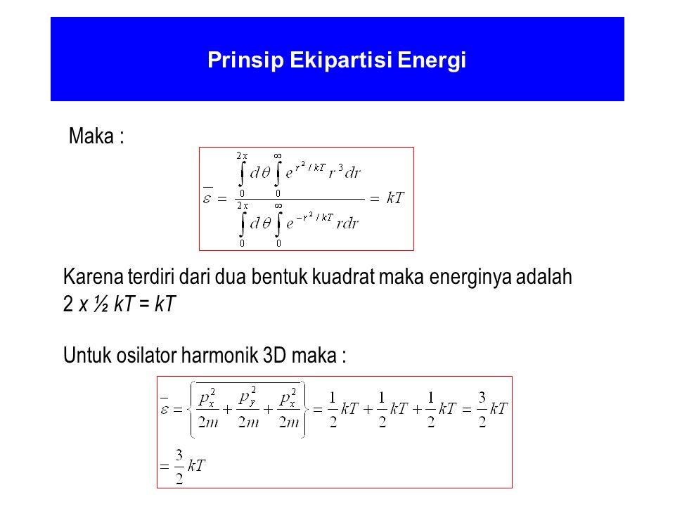 Prinsip Ekipartisi Energi Maka : Karena terdiri dari dua bentuk kuadrat maka energinya adalah 2 x ½ kT = kT Untuk osilator harmonik 3D maka :