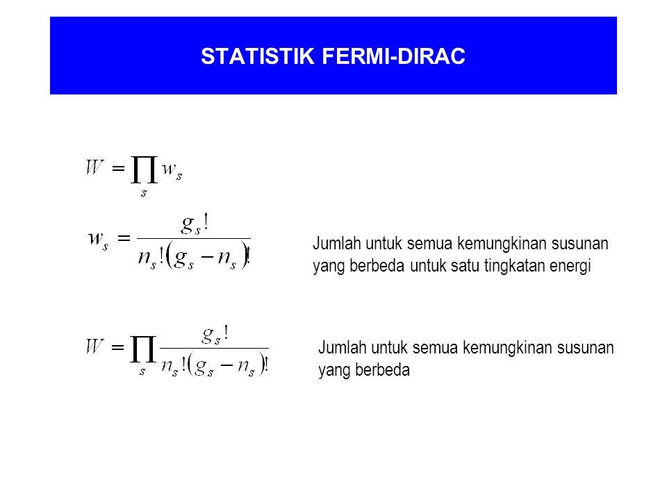 STATISTIK FERMI-DIRAC Jumlah untuk semua kemungkinan susunan yang berbeda Jumlah untuk semua kemungkinan susunan yang berbeda untuk satu tingkatan ene