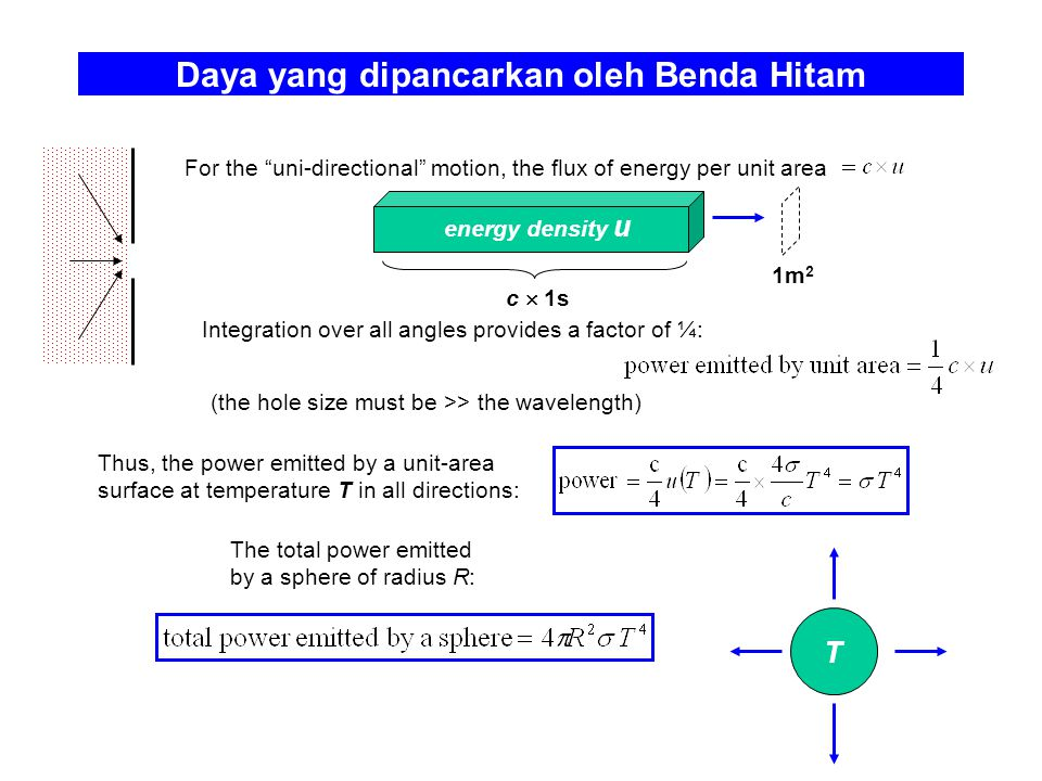 "Daya yang dipancarkan oleh Benda Hitam For the ""uni-directional"" motion, the flux of energy per unit area c  1s energy density u 1m 2 T Integration o"
