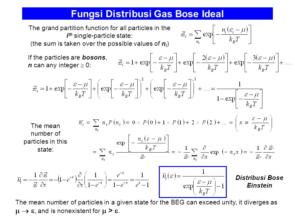 Fungsi Distribusi Gas Bose Ideal The grand partition function for all particles in the i th single-particle state: (the sum is taken over the possible