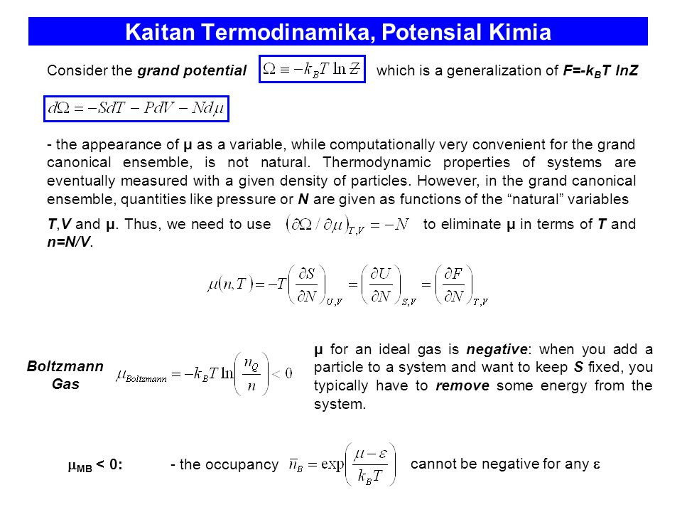 Kaitan Termodinamika, Potensial Kimia cannot be negative for any  μ for an ideal gas is negative: when you add a particle to a system and want to kee