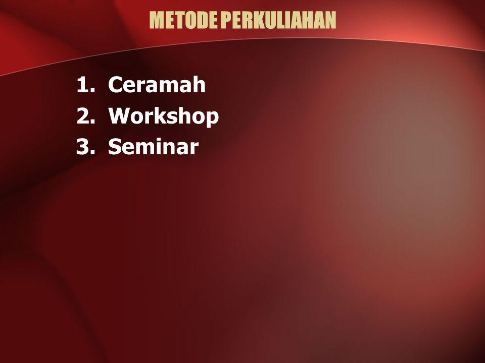 METODE PERKULIAHAN 1.Ceramah 2.Workshop 3.Seminar