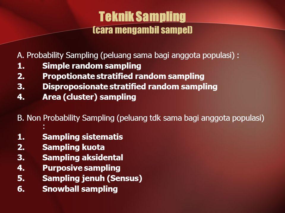 Teknik Sampling (cara mengambil sampel) A. Probability Sampling (peluang sama bagi anggota populasi) : 1.Simple random sampling 2.Propotionate stratif