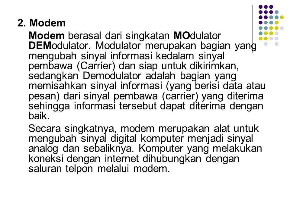 2.Modem Modem berasal dari singkatan MOdulator DEModulator.