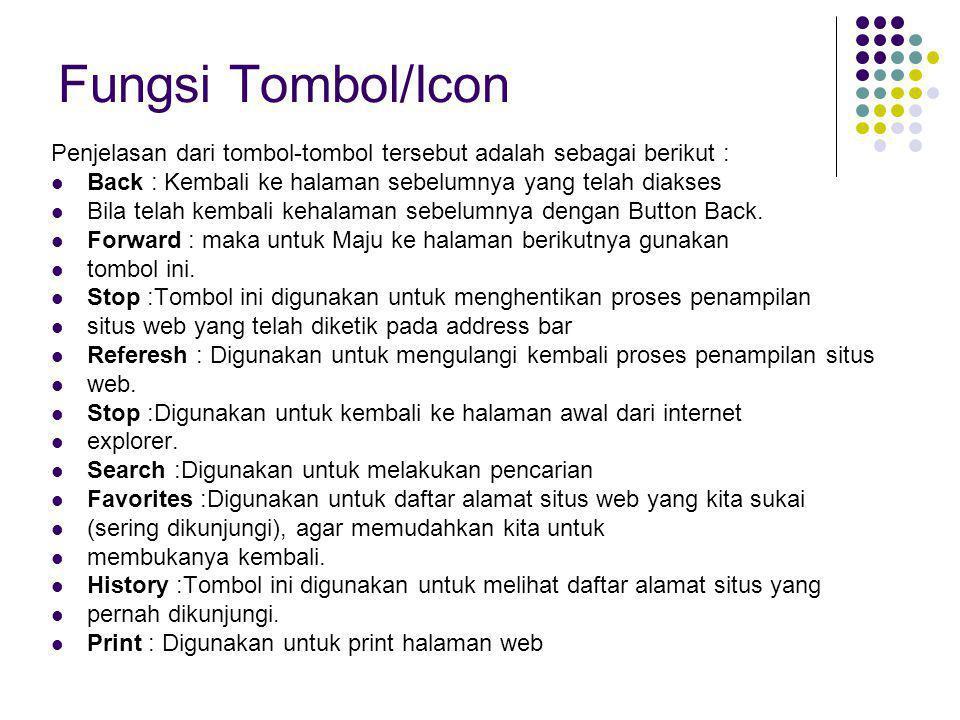 Fungsi Tombol/Icon Penjelasan dari tombol-tombol tersebut adalah sebagai berikut : Back : Kembali ke halaman sebelumnya yang telah diakses Bila telah