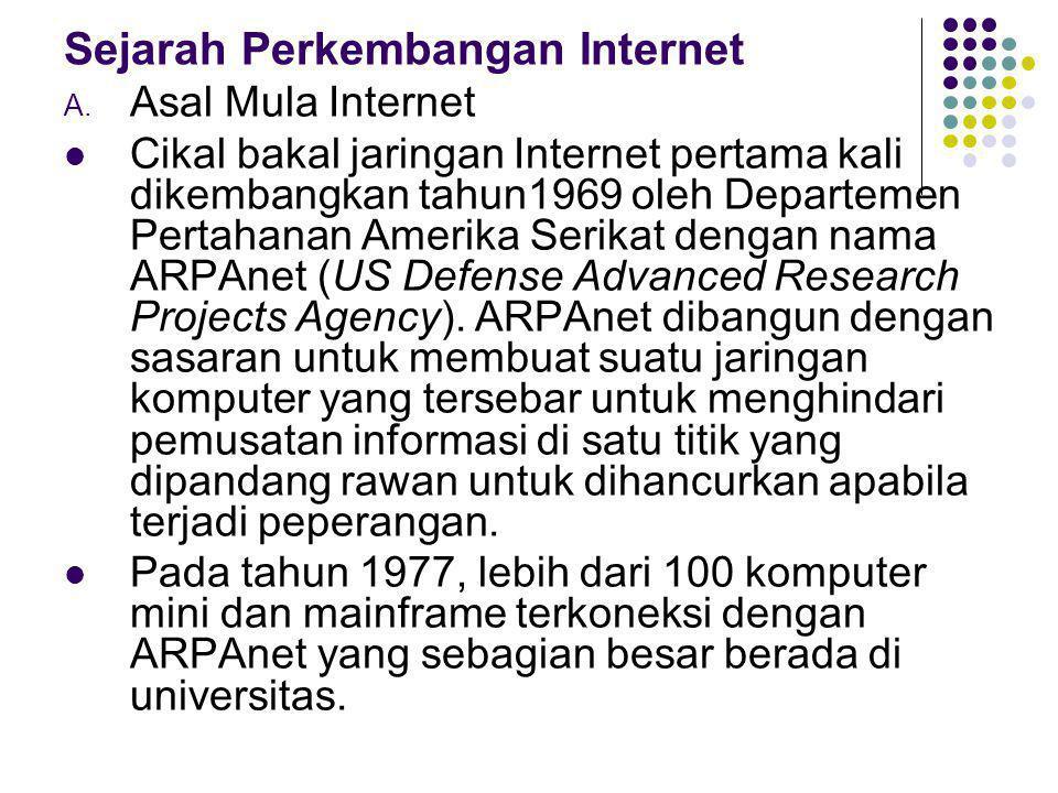 Sejarah Perkembangan Internet A. Asal Mula Internet Cikal bakal jaringan Internet pertama kali dikembangkan tahun1969 oleh Departemen Pertahanan Ameri