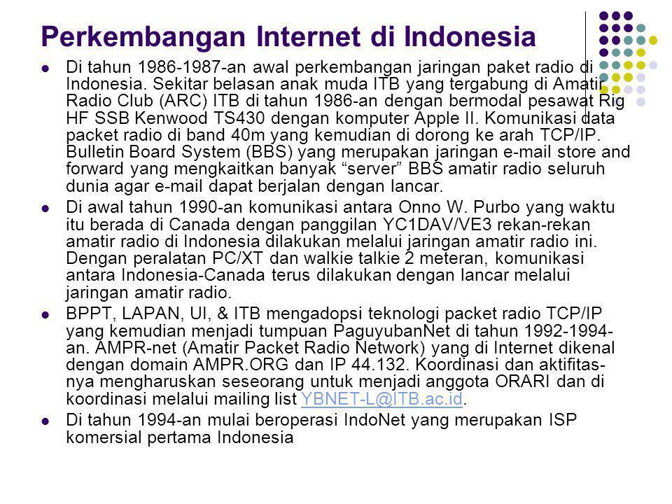 Perkembangan Internet di Indonesia Di tahun 1986-1987-an awal perkembangan jaringan paket radio di Indonesia. Sekitar belasan anak muda ITB yang terga