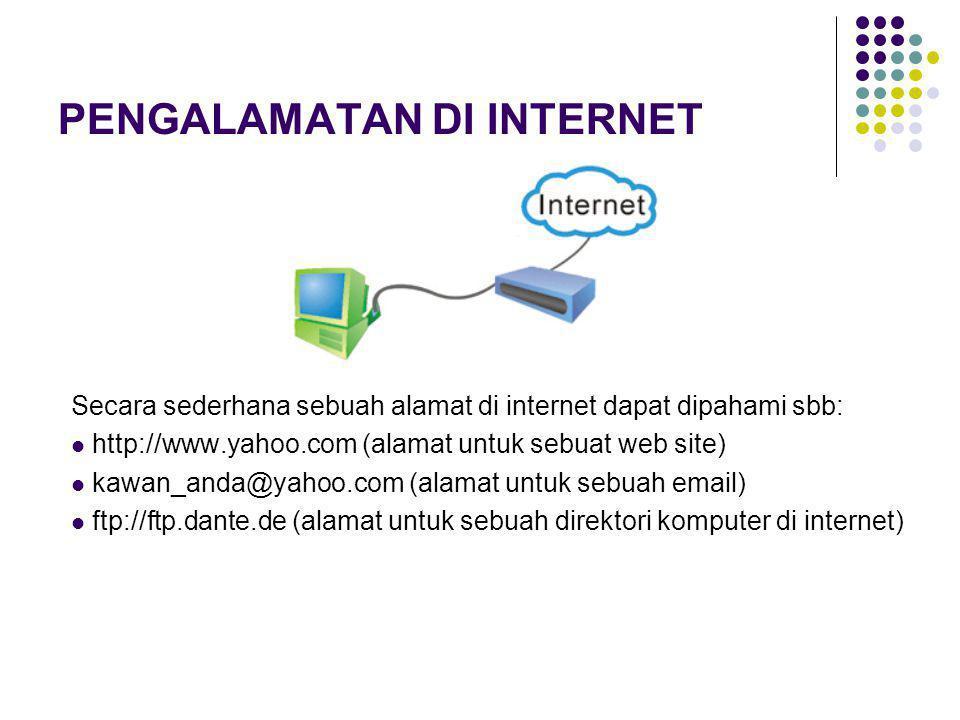 PENGALAMATAN DI INTERNET Secara sederhana sebuah alamat di internet dapat dipahami sbb: http://www.yahoo.com (alamat untuk sebuat web site) kawan_anda@yahoo.com (alamat untuk sebuah email) ftp://ftp.dante.de (alamat untuk sebuah direktori komputer di internet)